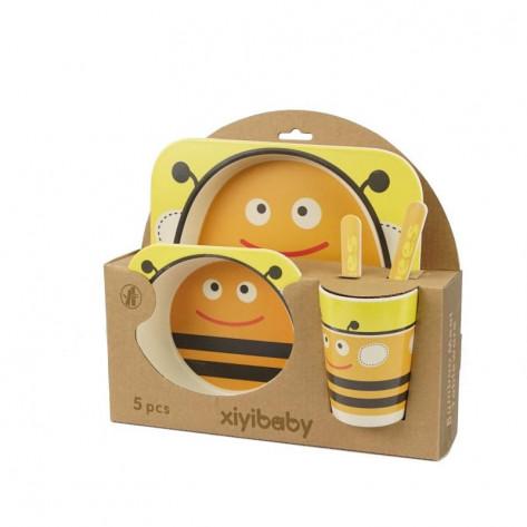 Детская бамбуковая посуда мир животных, 5 предметов, пчелка