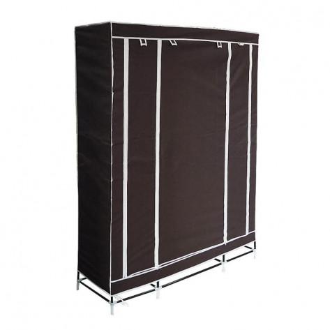 Складной шкаф для одежды, тканевый шкаф  (3 секции), коричневый