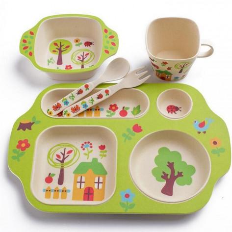 Детская бамбуковая посуда с сюжетом, 5 предметов, избушка в саду