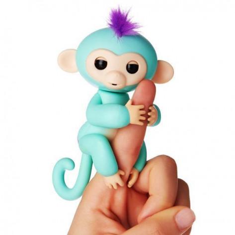Интерактивная обезьянка на палец Fingerlings Baby Monkey (Фингерлингс Бейби Манки), бирюзовый