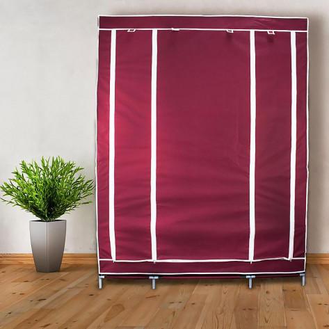 Складной шкаф для одежды, тканевый шкаф  (3 секции), бордовый