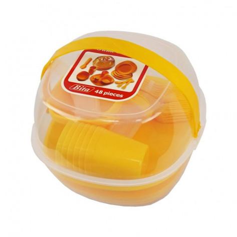 Набор пластиковой посуды для пикника 48 предметов, посуда для кемпинга на 6 персон, оранжевый