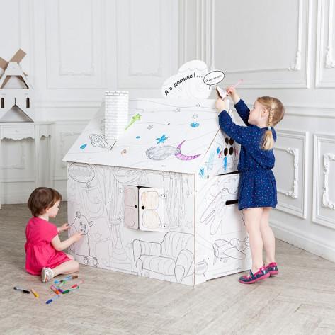 Картонный домик-раскраска для детей