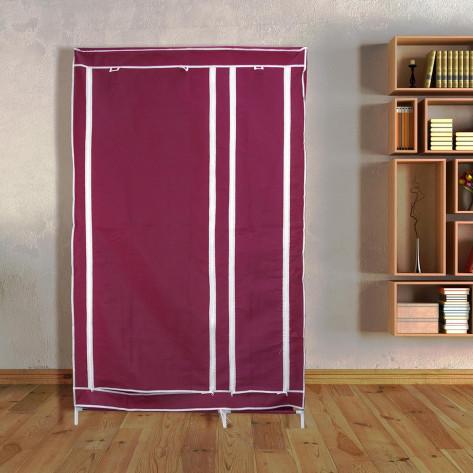 Складной шкаф для одежды, тканевый шкаф  (2 секции), бордовый