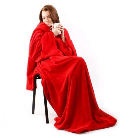 Флисовый плед с рукавами Snuggie (Снагги), красный